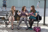 Jemima Kirke, Lena Dunham, and Zosia Mamet in Girls.  Photo courtesy of HBO