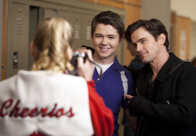 Heather Morris as Brittany, Damian Mcginty as Rory, and Matt Bomer as Cooper on Glee.  Photo courtesy of Fox