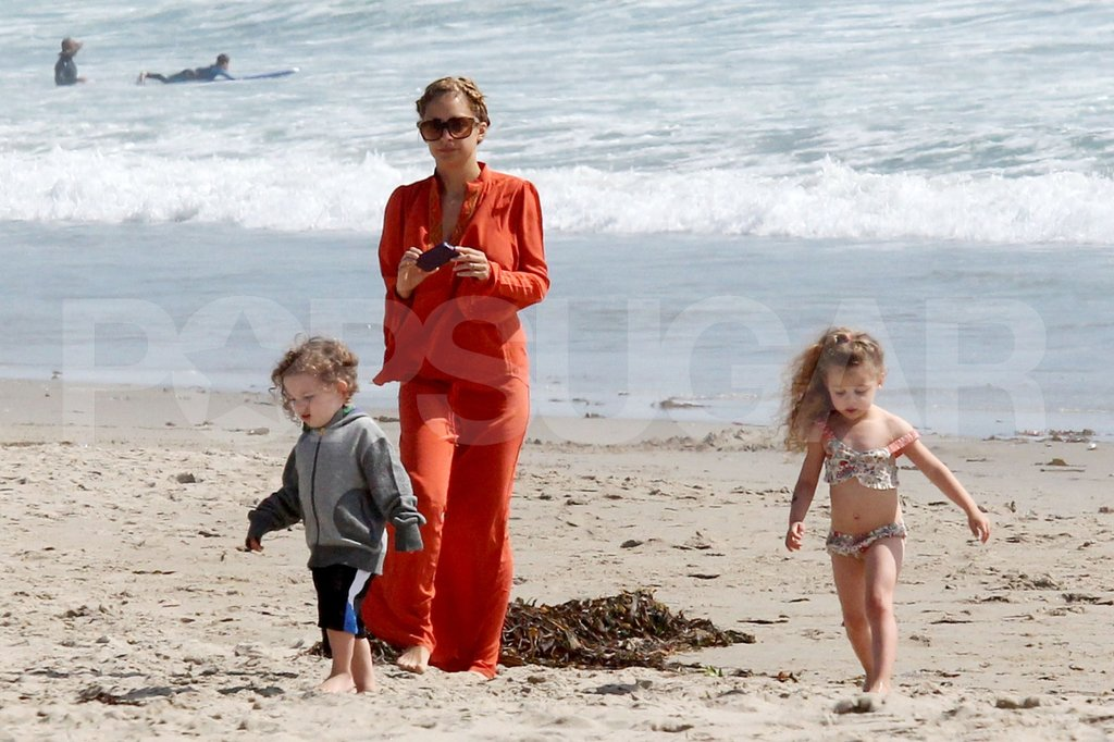 Nicole Richie took pictures of her kids Sparrow and Harlow as the played on the beach in Malibu.