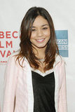 Vanessa Hudgens sported a pink cardigan to the Thunderbirds screening during the Tribeca Film Festival in May 2004.