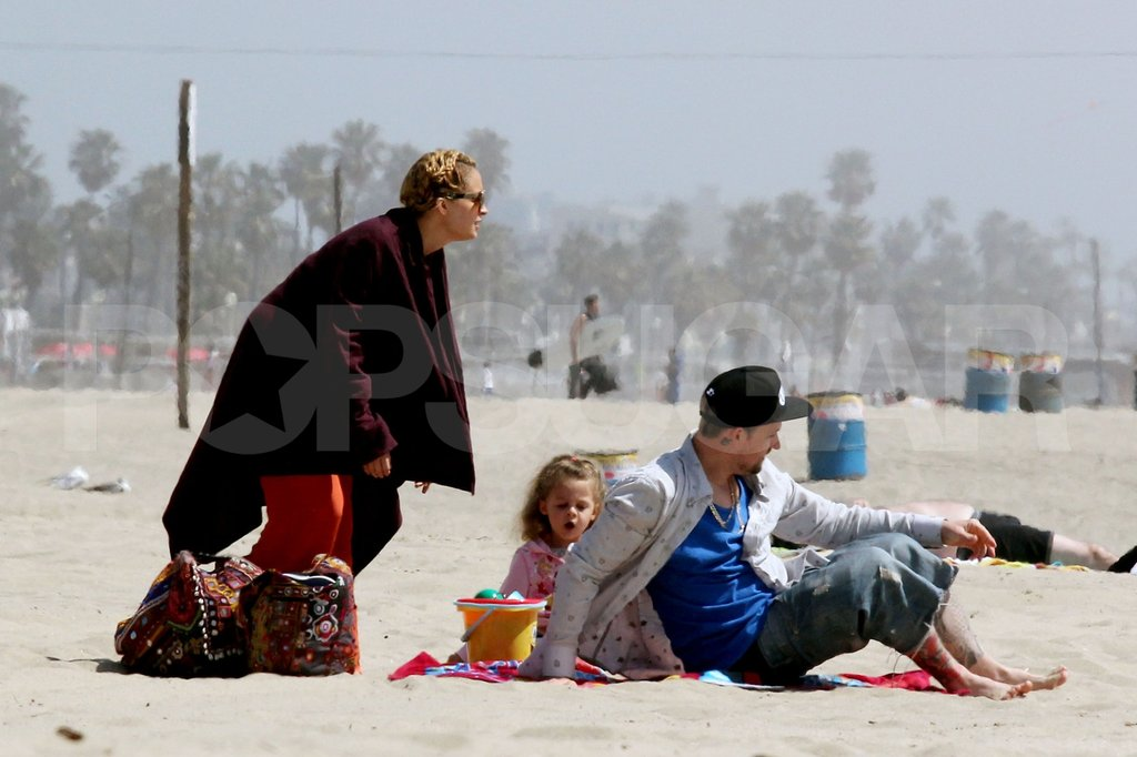 Nicole Richie and Joel Madden played with Harlow and Sparrow on the beach in Malibu for Easter.