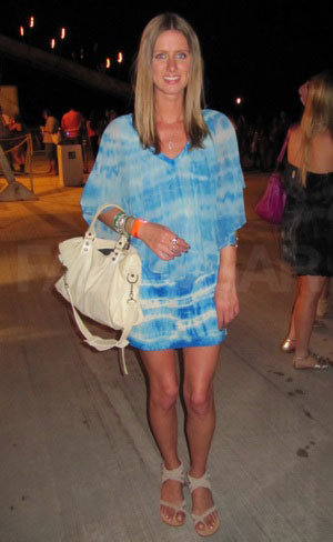 We spotted Nicky Hilton looking festive at Armani's Neon Carnival.