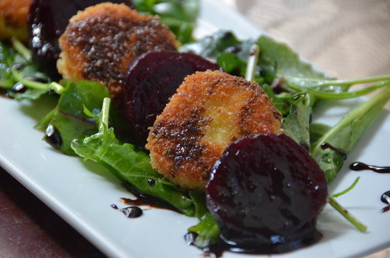 Roasted Beets and Crispy Goat Cheese with Honey Balsamic Glaze