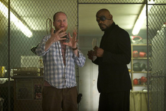 Director Joss Whedon and Samuel L. Jackson as Nick Fury in The Avengers. Photo courtesy of Disney