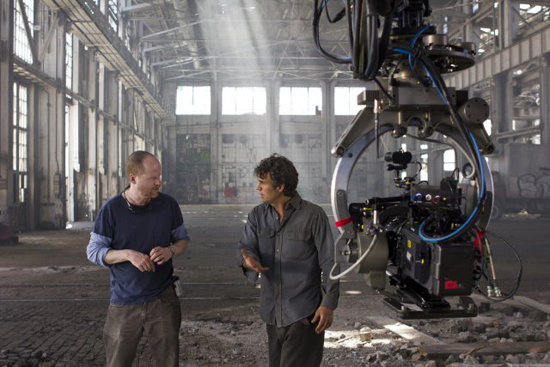 Director Joss Whedon and Mark Ruffalo as Bruce Banner in The Avengers. Photo courtesy of Disney