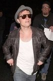 Josh Hutcherson sported a leather jacket.