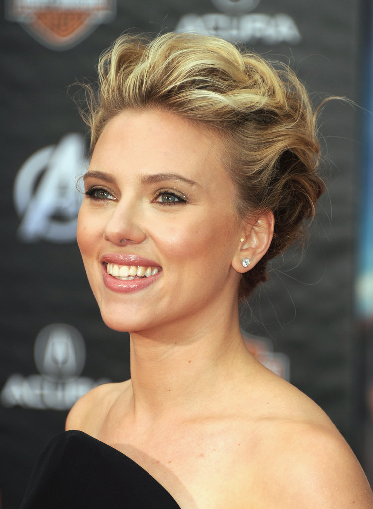 Scarlett Johansson Sticks to a Black Widow Versace For Avengers World Premiere