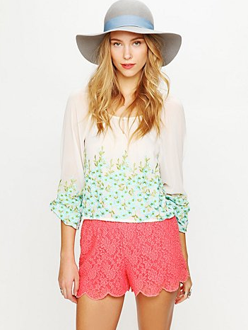 We love both the bright hue and the lacy detail — perfect for festival season with a flowy top and pretty flat sandals. Free People Scalloped Lace Skort ($78)