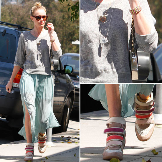 kate bosworth wears maxi skirt and marant trainers