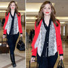 Emmy Rossum Lace Blouse With Red Blazer