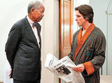 Morgan Freeman and Christian Bale in The Dark Knight Rises. Photo courtesy of Warner Bros.