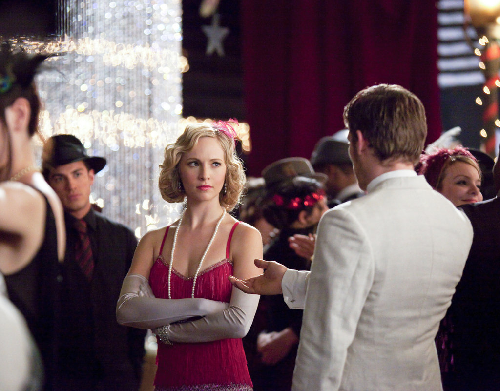 Michael Trevino as Tyler, Candice Accola as Caroline, and Joseph Morgan as Klaus on The Vampire Diaries.