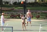 Hayden Panettiere played basketball with boyfriend, New York Jets wide receiver, Scotty McKnight, in Hawaii.
