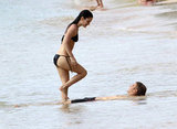 Rachel Bilson and Hayden Christensen laughed together while in the ocean in Barbados.