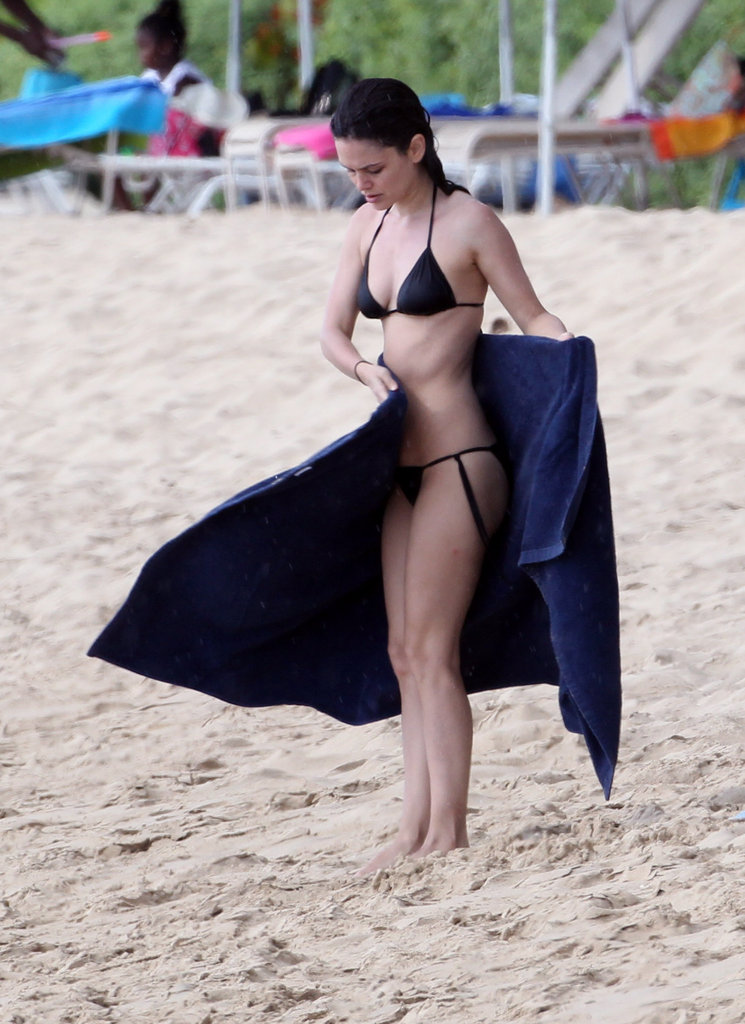 Rachel Bilson showed off her bikini body in a black swimsuit in Barbados.