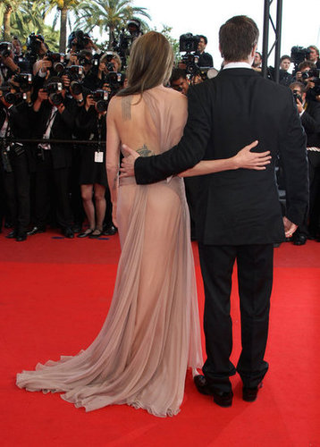 Brad Pitt and Angelina Jolie shared a hug at his 2009 Cannes Film Festival premiere of Inglourious Basterds.