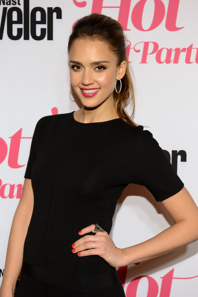 Jessica Alba wore an LBD with hoop earrings to the Condé Nast Traveler Hot List Party in LA.