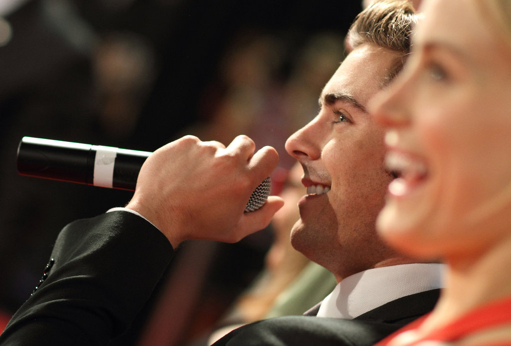 Zac Efron adressed the cheering crowd of fans.
