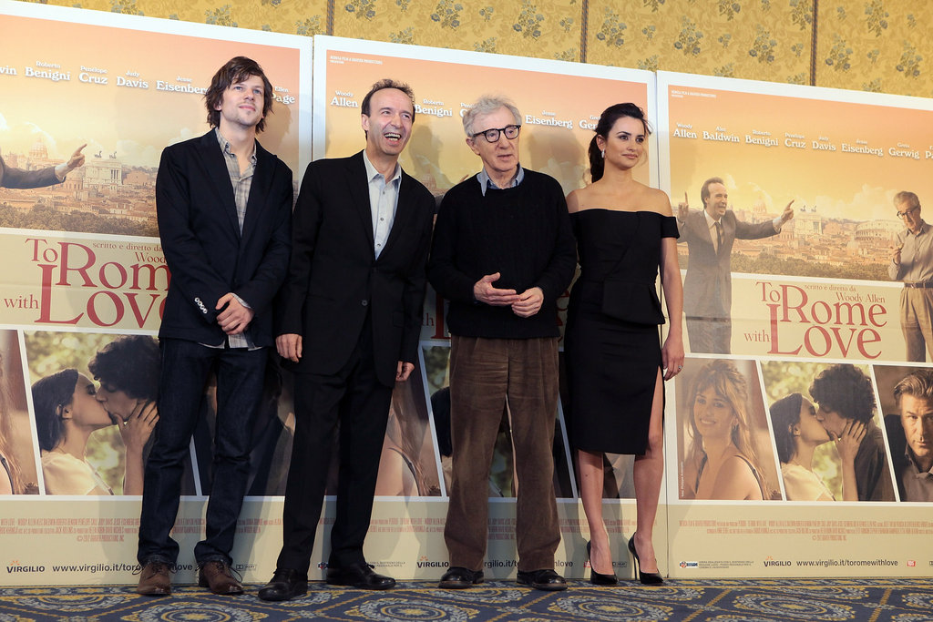 Penelope Cruz, Jesse Eisenberg, Woody Allen, and Roberto Begnini stopped to pose for the press in Rome.