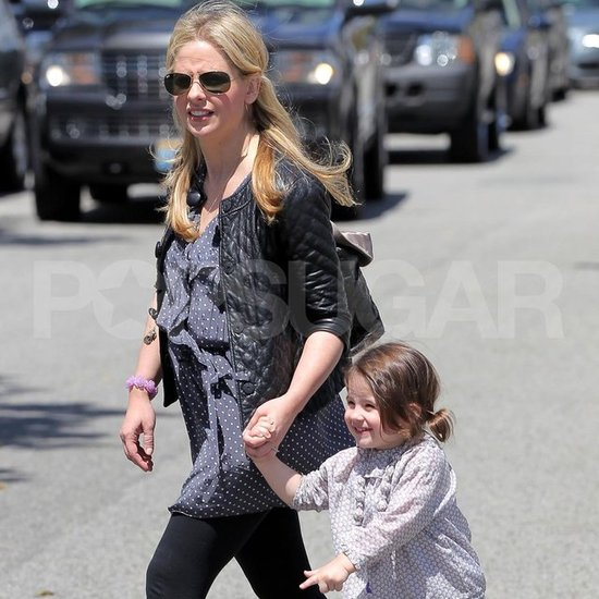 Sarah Michelle Gellar held hands with her daughter.