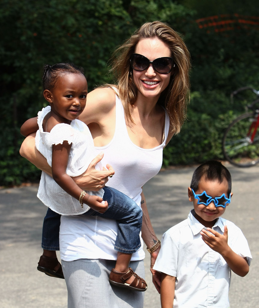 Angelina Jolie walked through Central Park with Zahara and Maddox during a stay in New York City in August 2007.