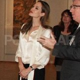 Angelina Jolie sported her engagement ring to a museum.