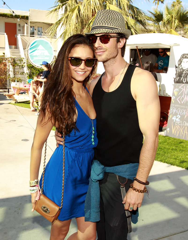 Nina Dobrev and Ian Somerhalder got cute at the Burton Snowboard BBQ at the Ace Hotel Saturday.