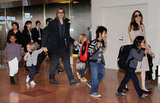 Brad Pitt, Angelina Jolie, and their six children arrived together at the Haneda Airport in Tokyo in November 2011.