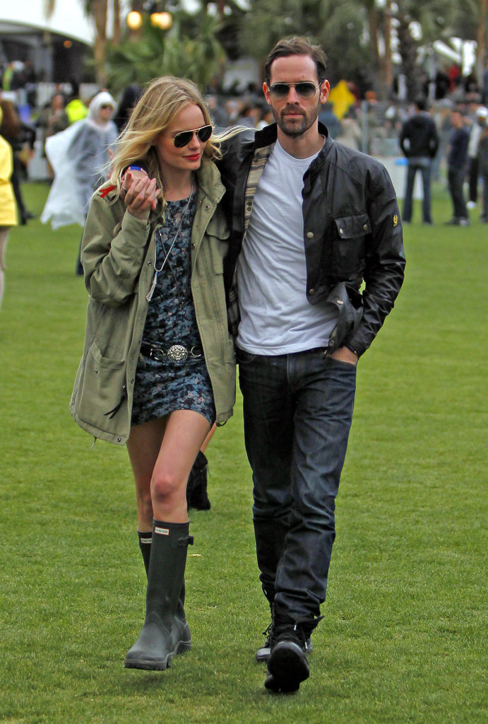 Kate Bosworth was ready for the rain, adding Hunter rain boots to her mini and anorak, with boyfriend Michael Polish.