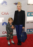 Gwen Stefani and Kingston Rossdale posed for photos together before going inside to enjoy the event.