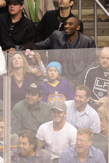 David Beckham and Kobe Bryant were sitting near each other at the playoff hockey game in LA.