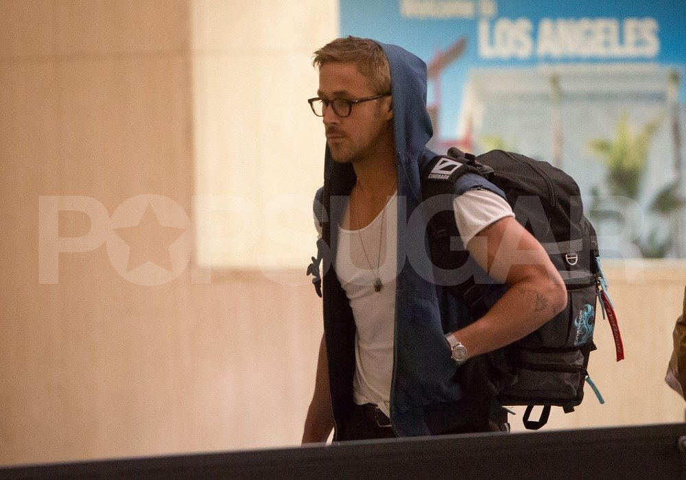 Ryan Gosling wore a hooded vest at LAX.