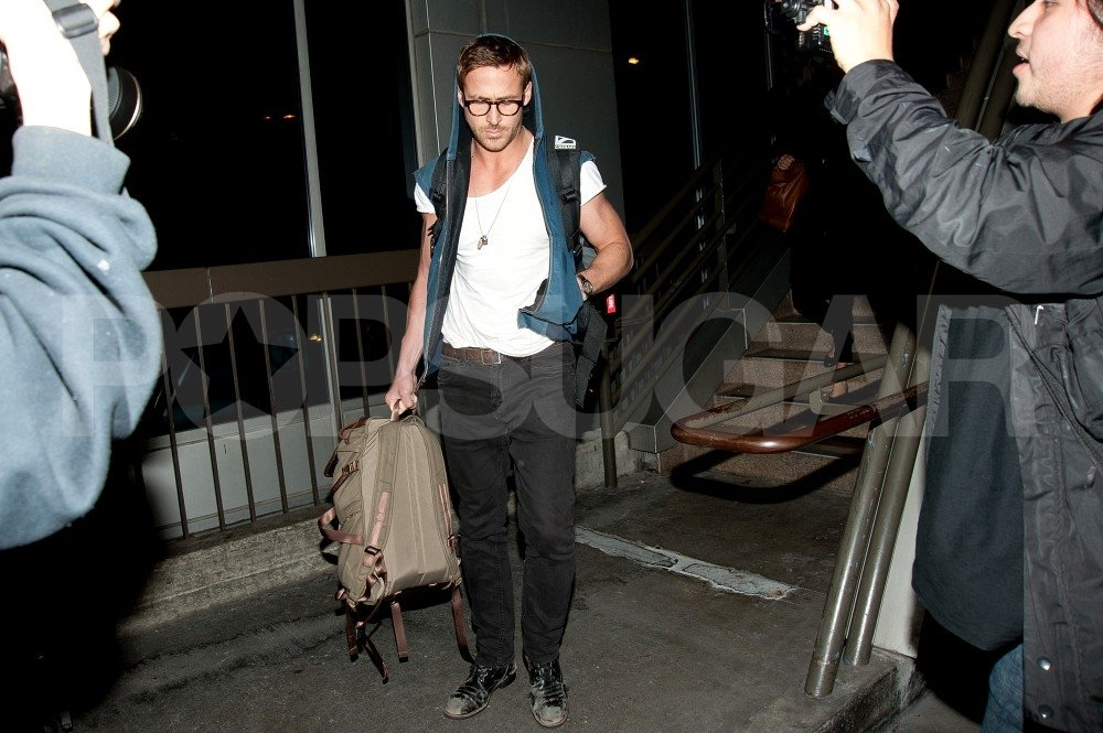 Ryan Gosling arrived at LAX.