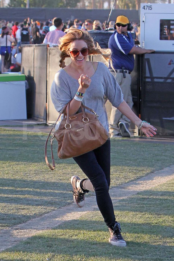 Lauren Conrad ran around the festival grounds Sunday.