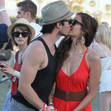 Nina Dobrev and Ian Somerhalder Kissing at Coachella (Video)