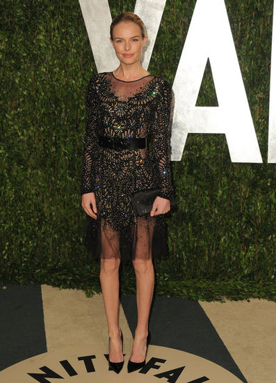 Kate Bosworth was spotted in the sheer trend with a Prabal Gurung dress back at the Vanity Fair party in February.
