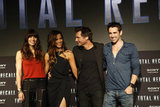 Jessica Biel, Kate Beckinsale, and Colin Farrell attended the Total Recall photocall in Cancun, Mexico, with director Len Wiseman.