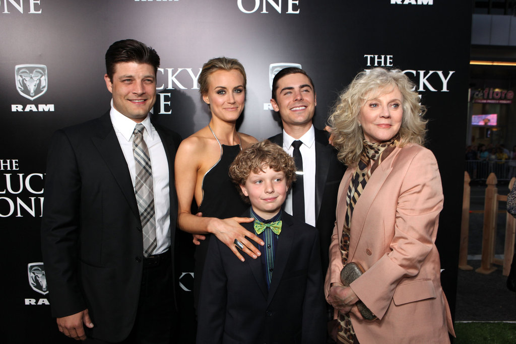 Blythe Danner, Taylor Schilling, Zac Efron, Jay R. Ferguson, and Riley Thomas Stewart linked up for the premiere of The Lucky One in LA.