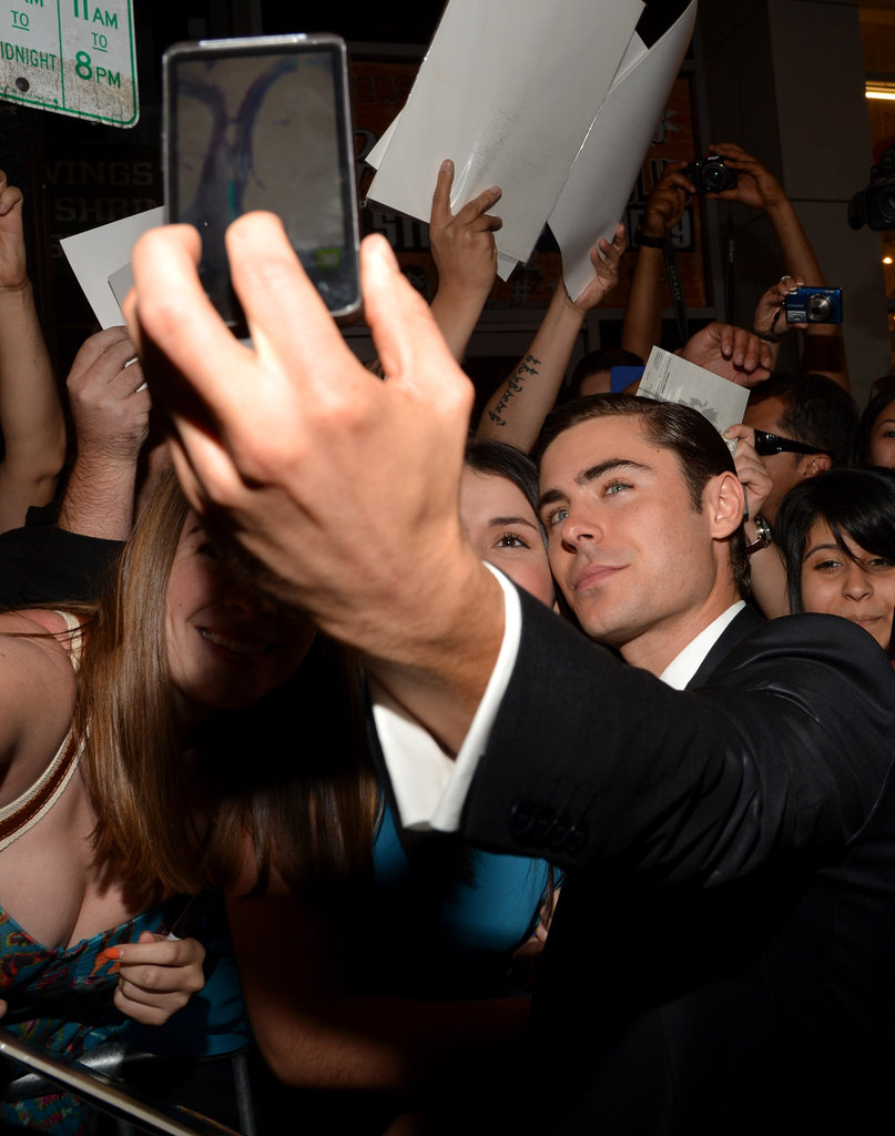 Zac Efron got friendly with fans at the Lucky One premiere in LA.