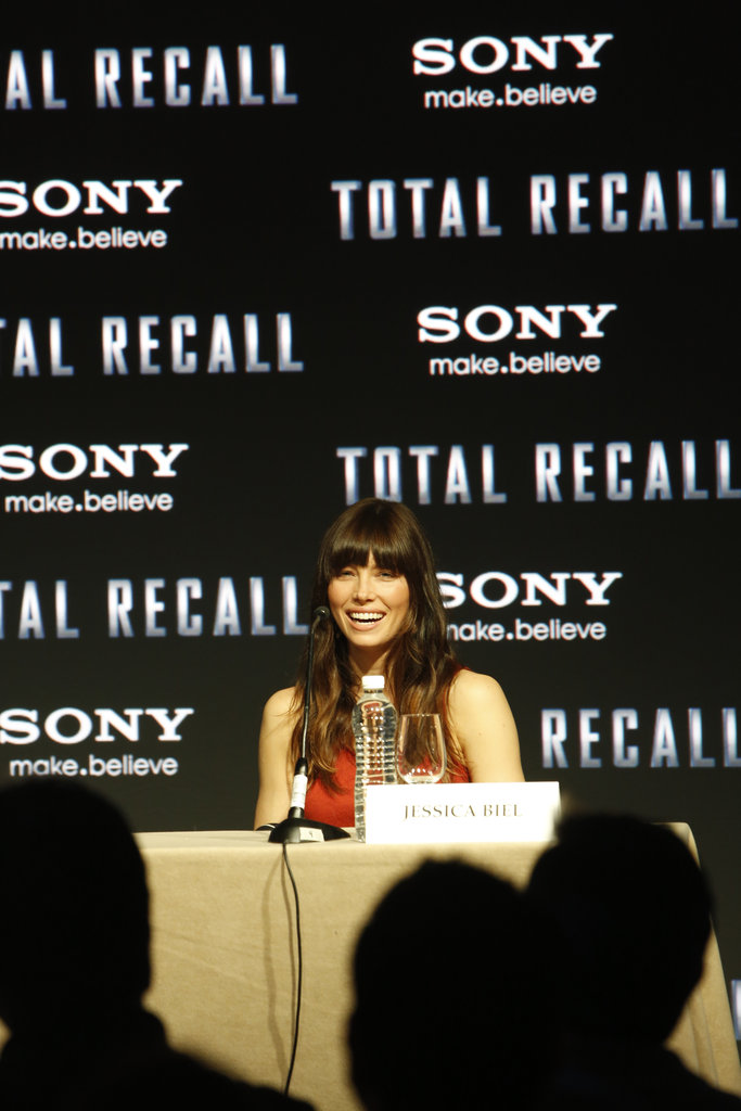 Jessica Biel promoted Total Recall in Cancun, Mexico.