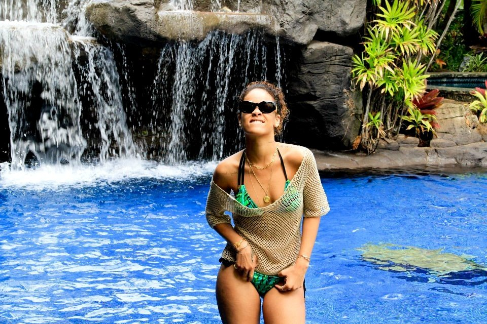 Rihanna wore her bikini by a waterfall.