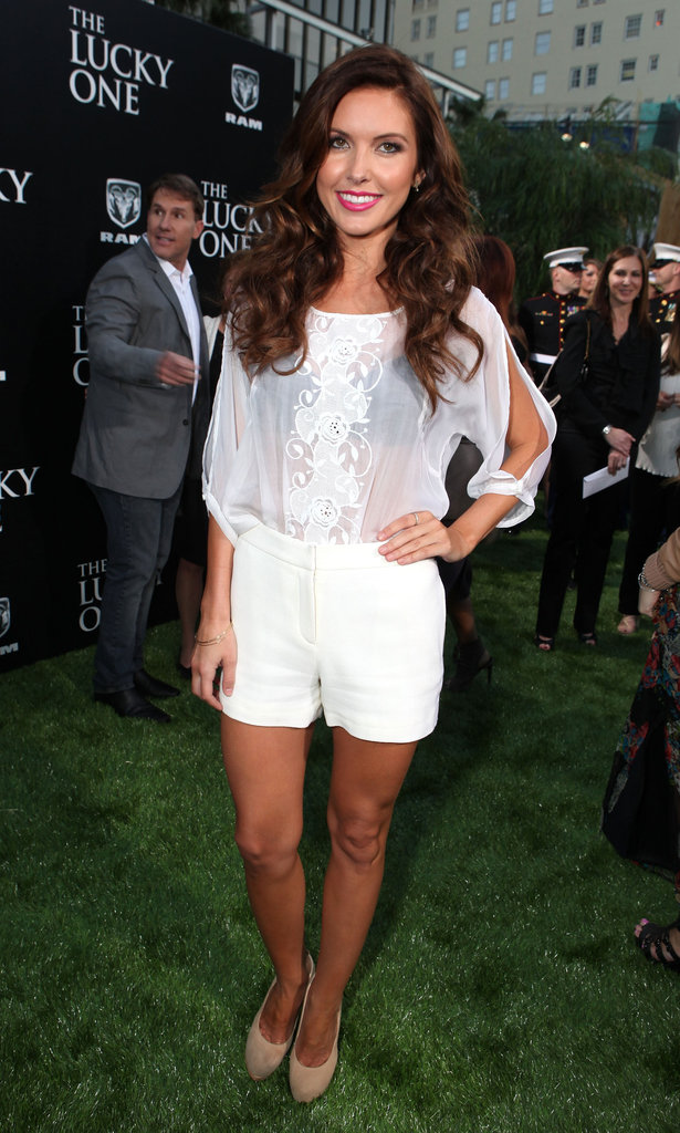 Audrina Patridge attended the premiere for The Lucky One  in LA wearing a sheer white lace top and white shorts.