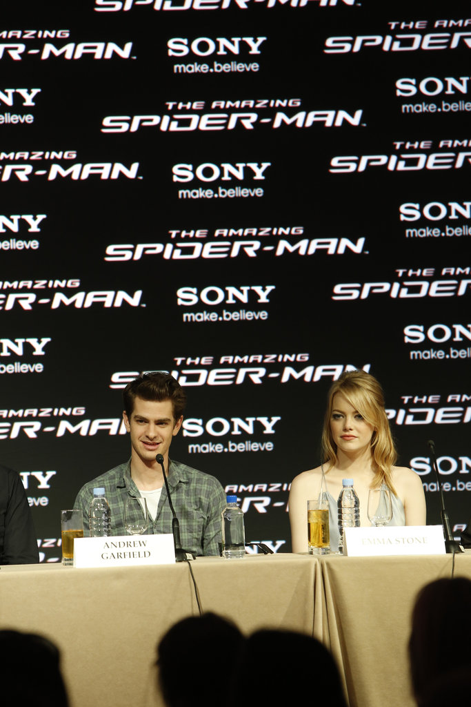 Andrew Garfield and Emma Stone talked at a press conference for The Amazing Spider-Man in Cancun.