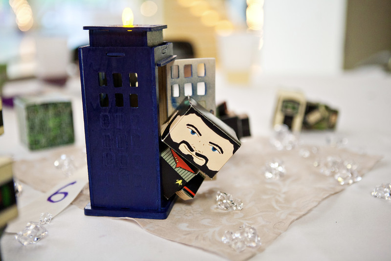 Show Your Style at Your Wedding Reception: TARDIS Candleholders and Papercrafts!