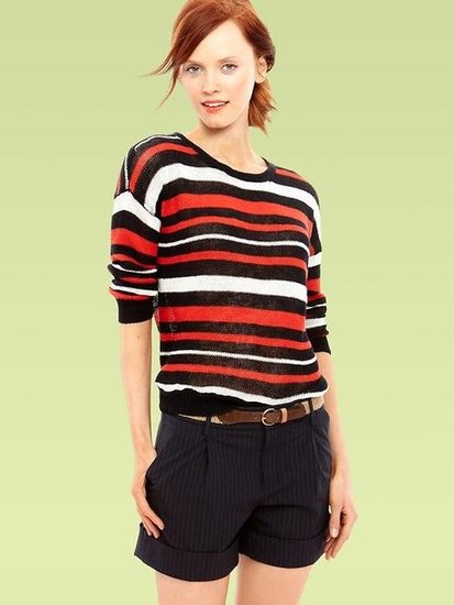 This striped knit maintains a sporty edge that'll be fun to play up against a bright pair of shorts. Gap Striped Knit Sweater ($55)
