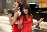 Naya Rivera as Santana and Lea Michele as Rachel on Glee.