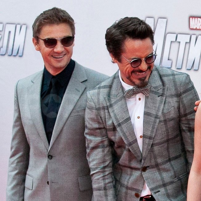Jeremy Renner and Robert Downey Jr. had a laugh while taking photos.