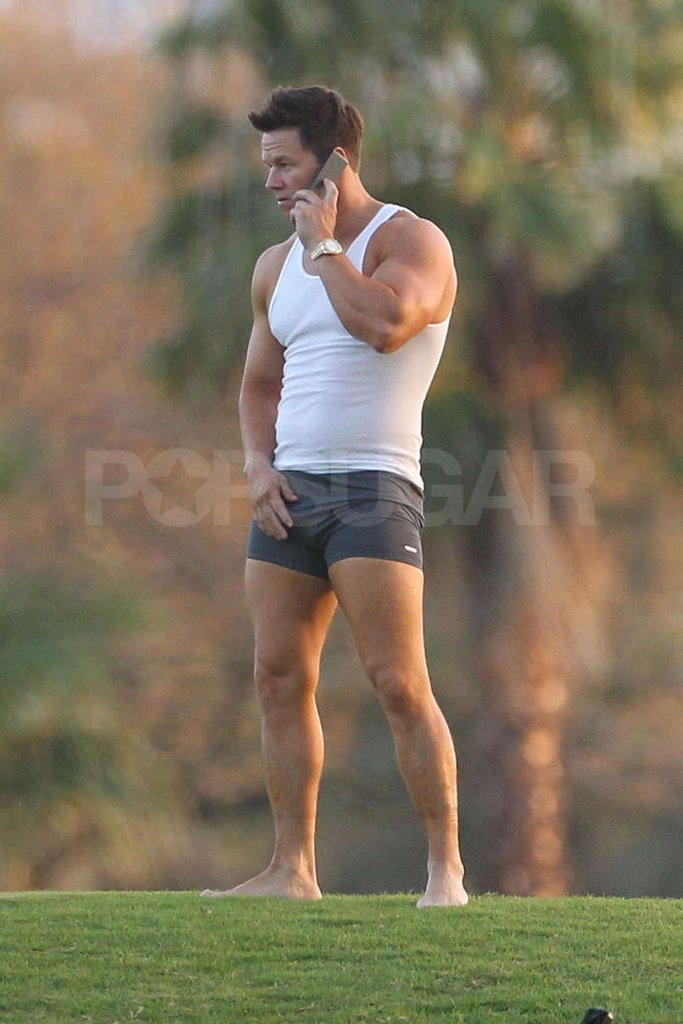 Mark Wahlberg showed off his body in boxer briefs and a white tank top on the set of Pain and Gain in Miami.