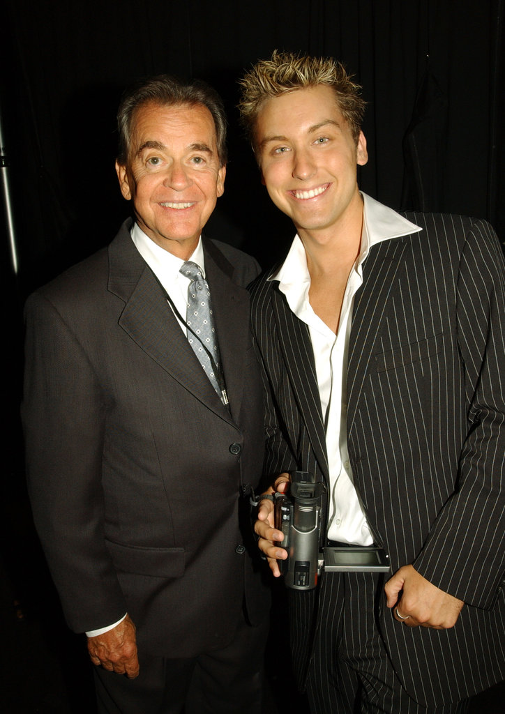In August 2003, Dick Clark and Lance Bass posed at the Family Television Awards in Beverly Hills.