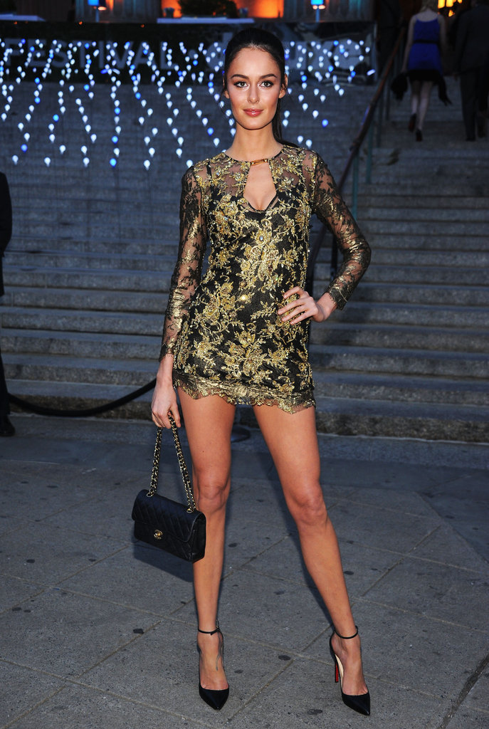 Nicole Trunfio wore a gold lace Pucci minidress to the Vanity Fair Party at the 2012 Tribeca Film Festival.